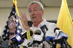New Jersey Governor Phil Murphy speaks to reporters after touring the Newark Health Department in Newark, N.J., Wednesday, Aug. 14, 2019. Residents began picking up bottled water on Monday, days after elevated lead levels were found in homes where city-issued filters had been distributed months ago as part of an ongoing effort to combat contamination. (AP Photo/Seth Wenig)