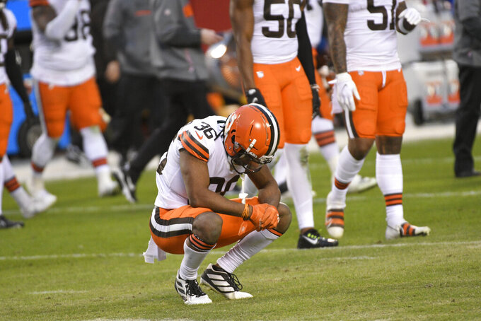 Cleveland Browns cornerback M.J. Stewart Jr. reacts on the field after an NFL divisional round football game against the Kansas City Chiefs, Sunday, Jan. 17, 2021, in Kansas City. The Chiefs won 22-17. (AP Photo/Reed Hoffmann)