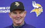 Minnesota Vikings head coach Mike Zimmer addresses the media after morning rookie minicamp workouts at the NFL football team's complex Friday, May 3, 2019, in Eagan, Minn. (AP Photo/Jim Mone)