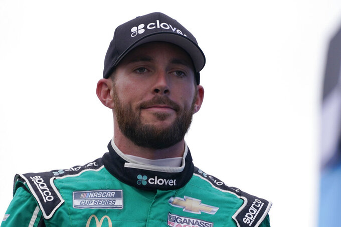Ross Chastain at a NASCAR Cup Series auto race, Sunday, July 18, 2021, in Loudon, N.H. (AP Photo/Charles Krupa)