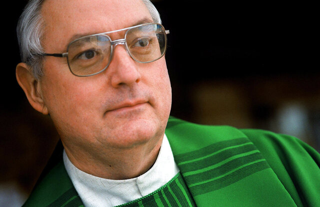 In this Jan. 27, 2001, photo, Father Steven Gerard Stencil poses for a portrait at his church, St. Mark the Evangelist, in Oro Valley, Ariz. Stencil was suspended from ministry in 2001 after a trip to Mexico that violated a diocese policy forbidding clerics from being with minors overnight. In a 2019 Facebook post, the former priest said that he was working as a driver for a private Phoenix bus company that specializes in educational tours for school groups and scout troops. (Ben Kirkby/Arizona Daily Star via AP)