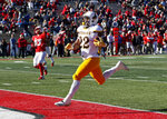 Wyoming running back Nico Evans (22) scores a touchdown against New Mexico during the first half of an NCAA college football game in Albuquerque, N.M., Saturday, Nov. 24, 2018. (AP Photo/Andres Leighton)