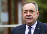 FILE - In this Thursday, Sept. 18, 2014 file photo, Scotland's former First Minister Alex Salmond poses for photographs in Turriff, Scotland.  Former allies Scotland's politicians Alex Salmond and Nicola Sturgeon have been trading accusations in a feud that seems to be tearing apart their Scottish National Party, as Salmond is scheduled to appear at a Scottish Parliament inquiry Wednesday Feb. 24, 2021. (AP Photo/Scott Heppell, file)