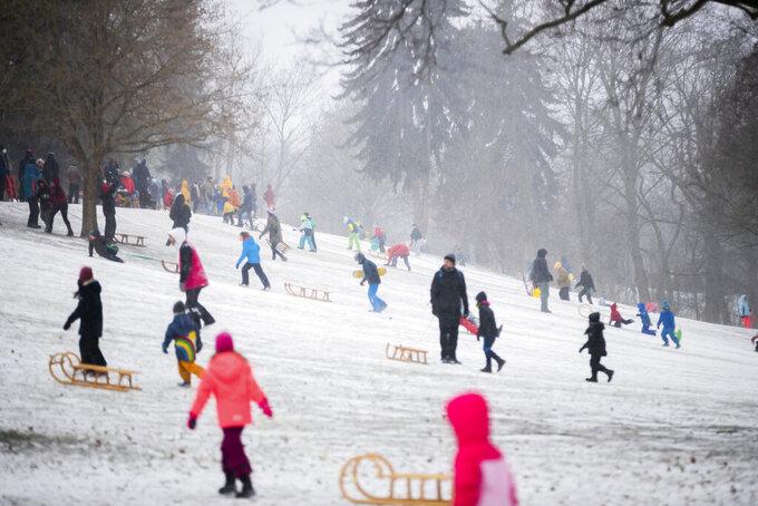 Children and families toboggan in Volkspark Friedrichshain in Berlin, Germany, Sunday, Feb. 7, 2021. (Christoph Soeder/dpa via AP)