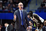 Connecticut head coach Dan Hurley works the sideline during the first half of an NCAA college basketball game against New Jersey Institute of Technology, Sunday, Dec. 29, 2019, in Hartford, Conn. (AP Photo/Stephen Dunn)