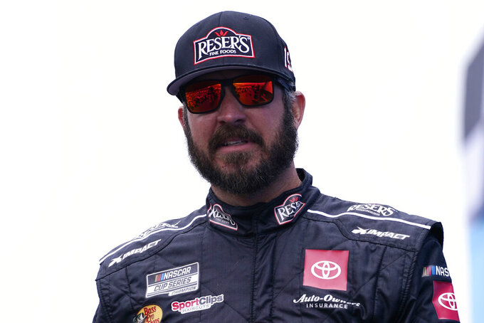 Martin Truex Jr. at a NASCAR Cup Series auto race, Sunday, July 18, 2021, in Loudon, N.H. (AP Photo/Charles Krupa)