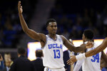 UCLA guard Kris Wilkes celebrates after a win over California in an NCAA college basketball game Saturday, Jan. 5, 2019, in Los Angeles. (AP Photo/Marcio Jose Sanchez)