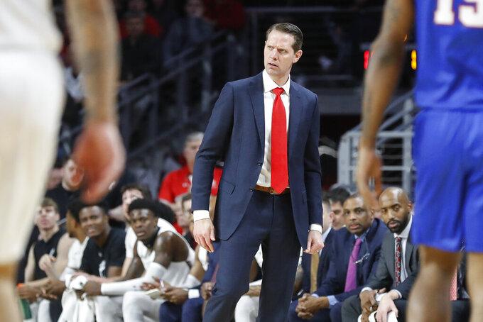 Cincinnati coach John Brannen reacts to a call during the first half of the team's NCAA college basketball game against SMU, Tuesday, Jan. 28, 2020, in Cincinnati. (AP Photo/John Minchillo)