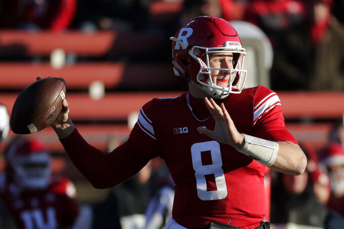 Rutgers quarterback Artur Sitkowski looks to pass against Michigan during the first half of an NCAA college football game, Saturday, Nov. 10, 2018, in Piscataway, N.J. (AP Photo/Julio Cortez)