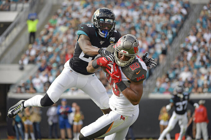 Tampa Bay Buccaneers tight end O.J. Howard (80) makes a reception in front of Jacksonville Jaguars free safety Jarrod Wilson during the first half of an NFL football game, Sunday, Dec. 1, 2019, in Jacksonville, Fla. (AP Photo/Phelan M. Ebenhack)