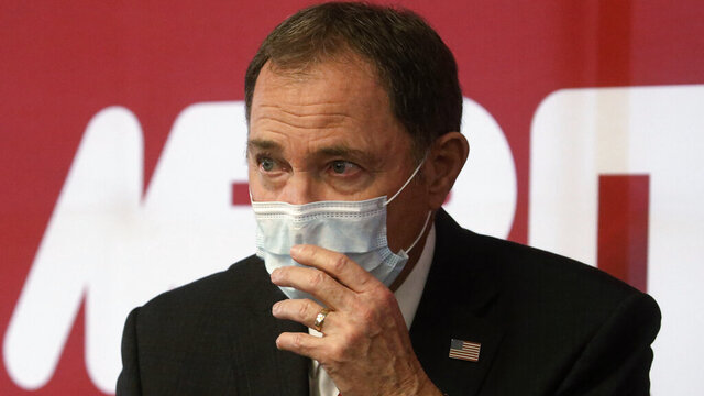 FILE - In this April 21, 2020 file photo Utah Gov. Gary Herbert speaks during a news conference in South Jordan, Utah. Herbert, a Republican, acknowledged that hydroxychloroquine for COVID-19, is