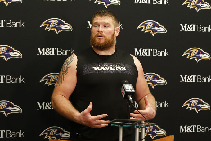 Baltimore Ravens offensive guard Marshal Yanda answers questions at a news conference after the Ravens defeated the Cleveland Browns in an NFL football game, Sunday, Dec. 22, 2019, in Cleveland. (AP Photo/Ron Schwane)
