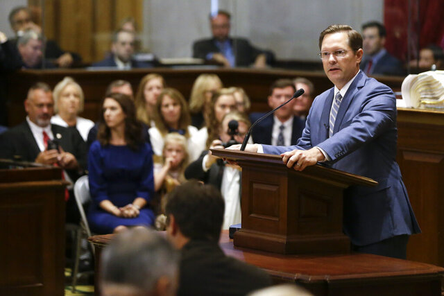 FILE - In this Aug. 23, 2019 file photo, Rep. Cameron Sexton, R-Crossville, addresses the House members after being sworn in as House Speaker during a special session of the Tennessee House in Nashville, Tenn.  In the election-year legislative session beginning Tuesday, Jan. 14, 2020 the Republican-supermajority House and Senate will debate bills and set the budget, while keeping in mind that every House seat and about half the Senate are on the ballot.(AP Photo/Mark Humphrey, File)