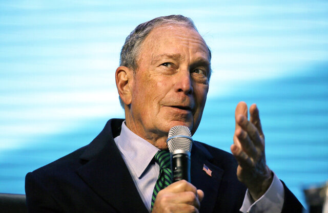 File - In this Dec. 11, 2019, file photo, Democratic Presidential candidate and former New York City Mayor Michael Bloomberg gestures while taking part in an on-stage conversation with former California Gov. Jerry Brown at the American Geophysical Union fall meeting in San Francisco. In the battle for the Democratic presidential nomination, no prize is bigger than California, which offers more delegates than any other state. And as candidates plot their strategies here, there's an overlooked group of voters who could be key to victory: independents. (AP Photo/Eric Risberg, File)