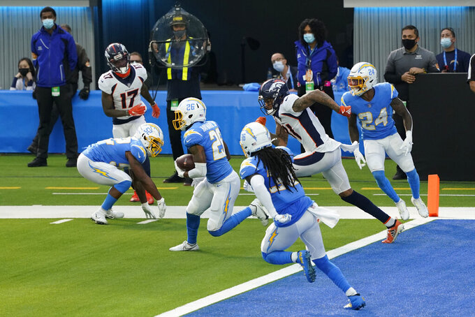 Los Angeles Chargers cornerback Casey Hayward runs back after intercepting a pass in the end zone during the first half of an NFL football game against the Denver Broncos Sunday, Dec. 27, 2020, in Inglewood, Calif. (AP Photo/Ashley Landis)