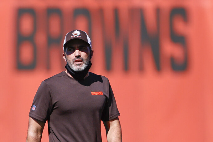 FILE - Cleveland Browns head coach Kevin Stefanski directs practice at the NFL football team's training facility Thursday, Aug. 20, 2020, in Berea, Ohio. The Browns will make their debut against the Baltimore Ravens under first-year coach Kevin Stefanski, hired in January after Cleveland stumbled to a 6-10 record in 2019. (AP Photo/Ron Schwane, FIle)