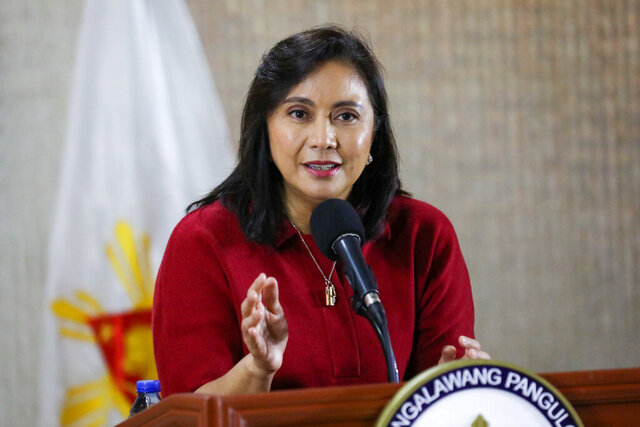 In this Monday, Jan. 6, 2020, photo provided by the Office of the Vice President, Philippine Vice President Leni Robredo delivers her statement in suburban Quezon city, northeast of Manila, Philippines. Philippine President Rodrigo Duterte's campaign against illegal drugs failed to substantially eradicate the menace and ensnare major drug lords and should be reformed to prevent further bloodshed, Robredo said. (Office of the Vice President via AP)