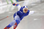 Russia's Pavel Kulizhnikov competes in the men's 500 meters during the world single distances speedskating championships Friday, Feb. 14, 2020, in Kearns, Utah. (AP Photo/Rick Bowmer)