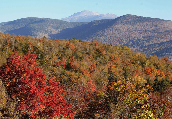 FILE - In this Oct. 9, 2013, file photo, leaves begin to change color along the Presidential Range in the White Mountain National Forest, visible from Hart's Location, N.H. Officials are noting the 100th anniversary of the federal acquisition of the forest with an art exhibit and other events throughout 2018 to celebrate