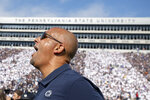Penn State head coach James Franklin reacts at the end of a 17-10 win over Pittsburgh in an NCAA college football game in State College, Pa., on Saturday, Sept. 14, 2019. (AP Photo/Barry Reeger)
