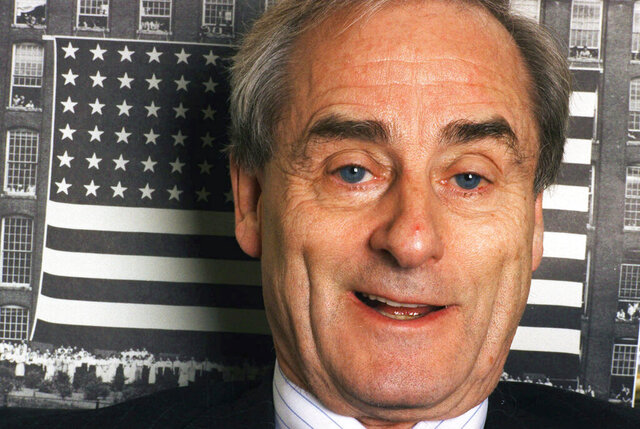 FILE - In this Nov. 18, 1998 file photo,  journalist Harold Evans talks about his new book,
