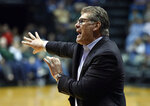 Connecticut head coach Geno Auriemma shouts to his players during the second half of an NCAA basketball game against South Florida, Monday, March 4, 2019, in Tampa, Fla. (AP Photo/Steve Nesius)