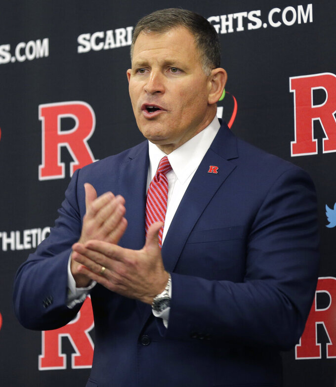 New Rutgers NCAA college football head coach Greg Schiano speaks at an introductory news conference in Piscataway, N.J., Wednesday, Dec. 4, 2019. After an on-again, off-again courtship, Schiano is back as Rutgers football coach. (AP Photo/Seth Wenig)