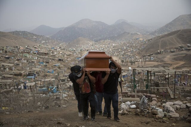 Relatives carry the coffin of a suspected COVID-19 victim at the Nueva Esperanza cemetery on the outskirts of Lima, Peru, Thursday, May 28, 2020. (AP Photo/Rodrigo Abd)