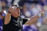 TCU head coach Gary Patterson watches during the first half of an NCAA college football game against Kansas State Saturday, Oct. 19, 2019, in Manhattan, Kan. (AP Photo/Charlie Riedel)