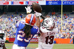 Florida defensive back Jaydon Hill (23) breaks up a pass intended for South Carolina wide receiver Shi Smith (13) during the second half of an NCAA college football game, Saturday, Oct. 3, 2020, in Gainesville, Fla. (AP Photo/John Raoux, Pool)