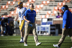 Pittsburgh head coach Pat Narduzzi before an NCAA college football game against Clemson Saturday, Nov. 28, 2020, in Clemson, S.C. (Ken Ruinard/Pool Photo via AP)