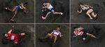 Jumpers, from top left, Khaddi Sagnia, of Sweden, Emiliano Lasa, of Uruguay, Nathalee Aranda, of Panama, Eusebio Caceres, of Spain, Ivana Spanovic, of Serbia, Shoutarou Shiroyama, of Japan, compete at the 2020 Summer Olympics in Tokyo. (AP Photos/Morry Gash)