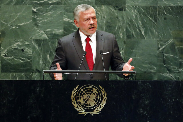 FILE - In this Sept. 24, 2019, file photo, Jordan's King Abdullah II addresses the 74th session of the United Nations General Assembly. The Trump administration is considering withholding aid to one of its closest Arab partners, Jordan, in a bid to secure the extradition of a woman convicted in Israel of a 2001 bombing that killed 15 people, including two American citizens. The extradition issue is likely to be raised this week when King Abdullah II speaks to several congressional committees to voice his opposition to Israel's plans to annex portions of the West Bank. (AP Photo/Richard Drew, File)