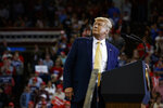 President Donald Trump speaks during a campaign rally at the Lake Charles Civic Center, Friday, Oct. 11, 2019, in Lake Charles, La. (AP Photo/Evan Vucci)