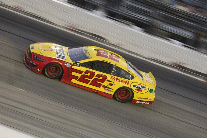 Joey Logaono races in a NASCAR Cup Series auto race Sunday, Sept. 5, 2021, in Darlington, S.C. (AP Photo/John Amis)