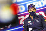 Red Bull driver Sergio Perez of Mexico attends a media conference prior to the Belgian Formula One Grand Prix at the Spa-Francorchamps racetrack in Spa, Belgium, Thursday, Aug. 26, 2021. (Xpb Images.com, Pool via AP)