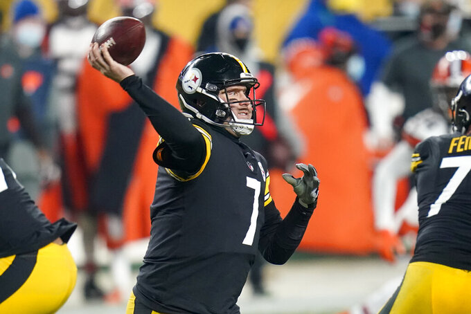 Pittsburgh Steelers quarterback Ben Roethlisberger (7) throws a pass during the first half of an NFL wild-card playoff football game against the Cleveland Browns, Sunday, Jan. 10, 2021, in Pittsburgh. (AP Photo/Keith Srakocic)