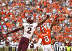 Clemson's A.J. Terrell (8) blocks a pass intended for Texas A&M's Jhamon Ausbon during the second half of an NCAA college football game Saturday, Sept. 7, 2019, in Clemson, S.C. (AP Photo/Richard Shiro)