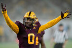 Arizona State defensive back Jack Jones (0) celebrates a defensive stop against Southern Utah during the first half of an NCAA college football game, Thursday, Sept. 2, 2021, in Tempe, Ariz. (AP Photo/Matt York)