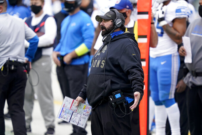 Detroit Lions head coach Matt Patricia watches during the first half of an NFL football game against the Carolina Panthers Sunday, Nov. 22, 2020, in Charlotte, N.C. (AP Photo/Gerry Broome)