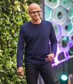 """Microsoft CEO Satya Nadella speaks at the Microsoft event on Thursday, Jan. 16, 2020, in Redmond, Wash. Microsoft is pledging to become 100% """"carbon-negative"""" by 2030 by removing more carbon from the environment than it emits. Nadella said Thursday that the commitment will happen"""