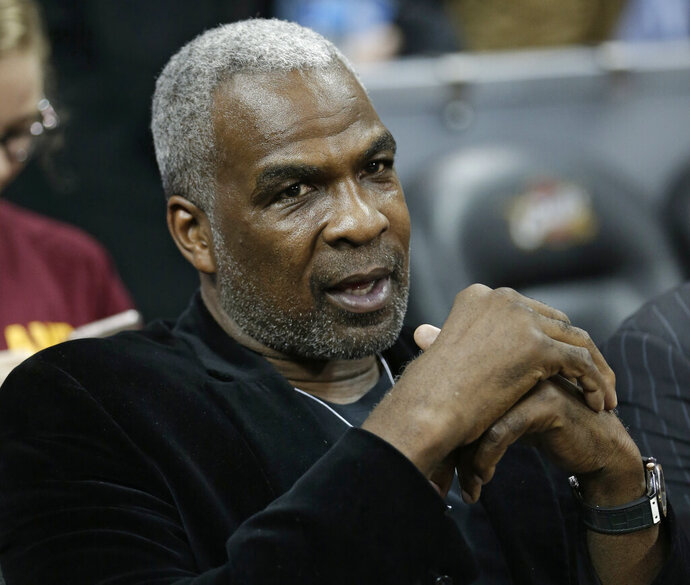 "FILE - In this Feb. 23, 2017, file photo, former New York Knicks player Charles Oakley is shown before an NBA basketball game between the Knicks and the Cleveland Cavaliers in Cleveland. A federal judge has dismissed Charles Oakley's lawsuit against executive chairman James Dolan and Madison Square Garden, stemming from the former New York Knicks forward's ejection and arrest from a game three years ago. Judge Richard J. Sullivan ruled Wednesday, Feb. 19, 2020 in U.S. District Court in Manhattan that the case ""had the feel of a public relations campaign"" and Oakley hadn't alleged a plausible legal claim under federal pleading standards. (AP Photo/Tony Dejak, File)"
