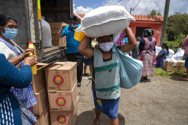 A woman wearing a protective face makes her way home with bagfuls of aid, in San Jose Calderas, Guatemala, Wednesday, Sept. 9, 2020, amid the new coronavirus pandemic. The government's migrant support agency Conamigua, delivered bags of food and household items to the community of people who have been deported from the United States affected by COVID-19. (AP Photo/Moises Castillo)