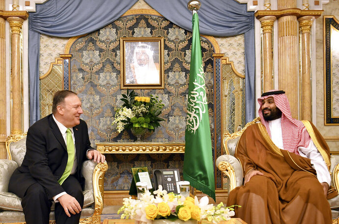 U.S. Secretary of State Mike Pompeo, left, meets with Saudi Arabia's Crown Prince Mohammed bin Salman in Jeddah, Saudi Arabia, on Wednesday, Sept 18, 2019. (Mandel Ngan/Pool Photo via AP)