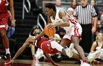 Stanford guard Daejon Davis, left, fouls Washington State forward Robert Franks during the second half of an NCAA college basketball game in Pullman, Wash., Saturday, Jan. 19, 2019. Stanford won 78-66. (AP Photo/Young Kwak)