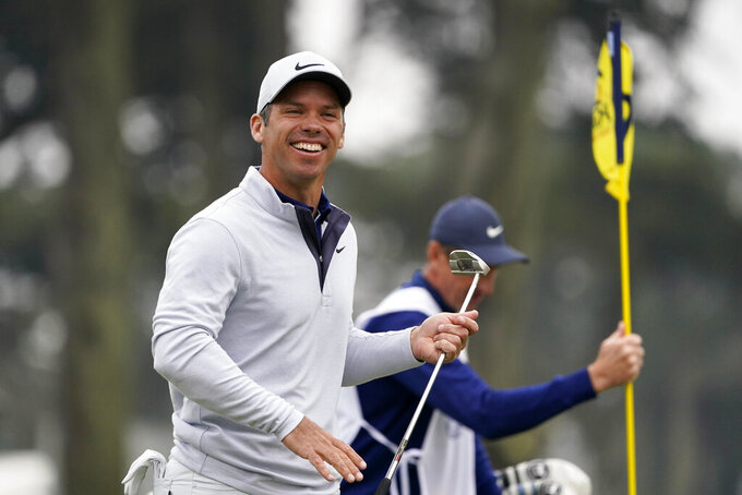 Paul Casey of England, smiles on the ninth hole during the final round of the PGA Championship golf tournament at TPC Harding Park Sunday, Aug. 9, 2020, in San Francisco. (AP Photo/Charlie Riedel)