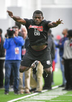Georgia cornerback Deandre Baker leaps during a football drill during Pro Day at the University of Georgia, Wednesday, March 20, 2019, in Athens, Ga. (AP Photo/John Amis)