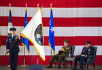 Gen. John W. Raymond, U.S. Air Force and commander of the U.S. Space Command, right, and Gen. Joseph F. Dunford, Jr., U.S. Marines and Chairman of the Joint Chiefs of Staff, watch during the presentation of the new U.S. Space Command colors Monday, Sept. 9, 2019, during a ceremony to recognize the establishment of the United States Space Command at Peterson Air Force Base in Colorado Springs, Colo. (Christian Murdock/The Gazette via AP)