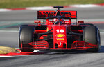 Scuderia Ferrari Mission Winnow's Charles Leclerc drives during a Formula One pre-season testing session at the Barcelona Catalunya racetrack in Montmelo, outside Barcelona, Spain, Thursday, Feb. 20, 2020. (AP Photo/Joan Monfort)