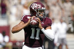 Texas A&M quarterback Kellen Mond (11) looks down field to pass against Auburn during the first quarter of an NCAA college football game, Saturday, Sept. 21, 2019, in College Station, Texas. (AP Photo/Sam Craft)